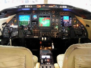Cockpit view of Air ambulance learjet