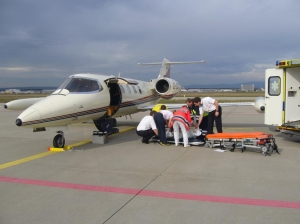 Jet Rescue international Air Ambulancepicking up patient in Europe